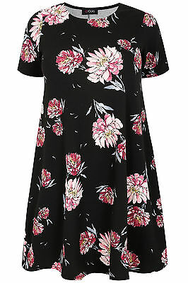 YoursClothing Plus Size Womens Ladies Floral Print Swing Dress Short Summer