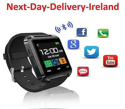 Bluetooth Smart Wrist Watch Phone Mate For iPhone Samsung IOS Android Black