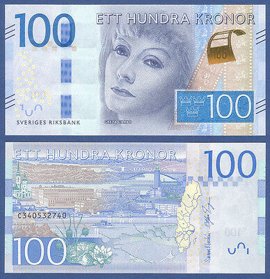 SCHWEDEN / SWEDEN 100 Kronor (2016) UNC P.NEW Greta Garbo