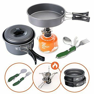 Lightweight Durable Camping Cookware Set - Stove, Pans, Utensils by Boom Dream