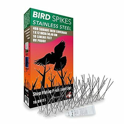 Stainless Steel Bird Spikes Kit with Transparent Silicone Glue by Aspectek