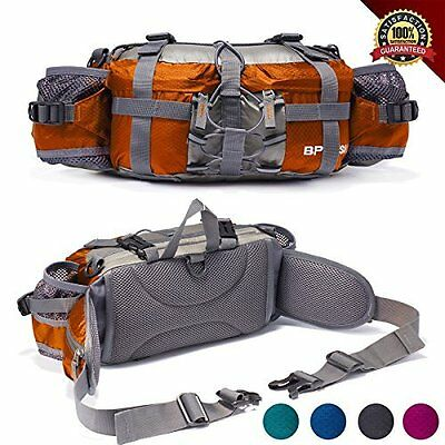 Water-Resistant Outdoor Waist Pack with 2 Water Bottle Holder by Bp Vision