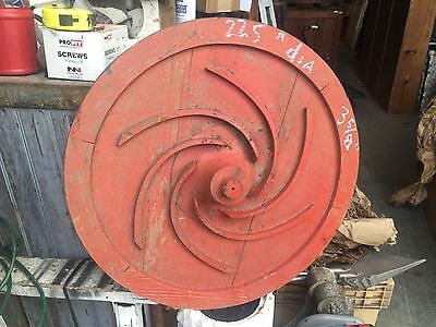 "c1940's shipyard WOODEN factory mold - RED circle w/spiral detail - 22.5"" dia"