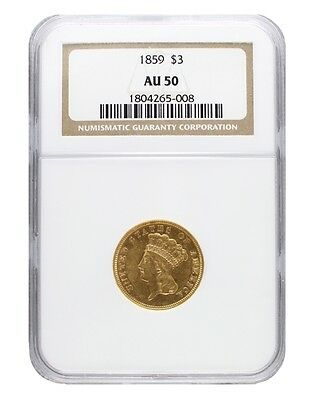 1859 NGC AU50 $3 Princess Head Three Dollar