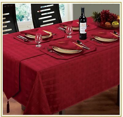 Luxurious Christmas Woven Check Jacquard Wine Red Napkins To Match Table Cloth