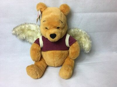 """Vintage Disney Store Winnie The Pooh Angel Wings 13"""" Plush SOFT Toy with tags"""