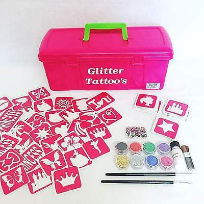 Princess Glitter Tattoo Kit - 97 Stencils Glitter glue Brushes Storage Box