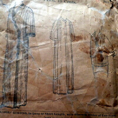 LOVELY VTG 1910s LADIES KIMONO Sewing Pattern BUST 36