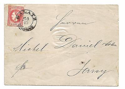 Romania: 1868, 18 Bani Red on 1869 Folded Letter Sheet from Galati to Iassy, VF