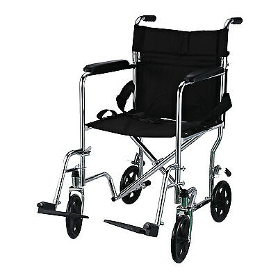 Foldable Wheelchair Transport Chair Padded Armrest w/ Brakes Stainless Steel