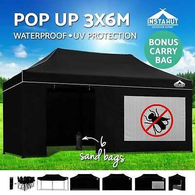 Instahut 3x6m Outdoor Gazebo Folding Marquee Tent Canopy Shade Pop Up Party