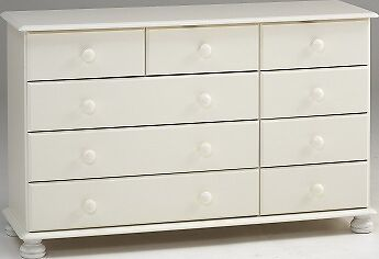 Richmond white 2+3+4 drawer bedroom solid chunky furniture chest of drawers unit