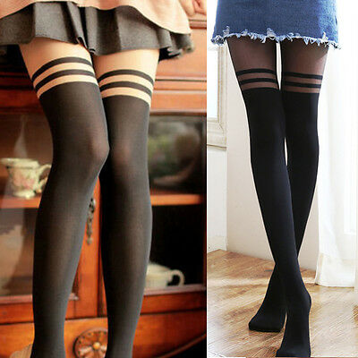 Women's Cute Black Striped Kitten Knee High Tattoo Stockings Pantyhose Tights