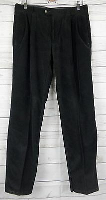 Vtg Black Pleated Tapered Corduroy Cord Trousers W32 L30 DE92