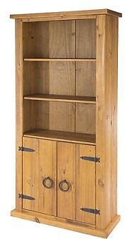 Farmhouse pine home bedroom furniture 2 door bookcase storage unit stand