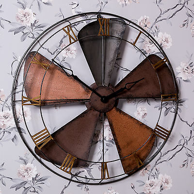 Large Industrial Style Metal Wood Fan Wall Clock Shabby Steampunk Chic Home Gift