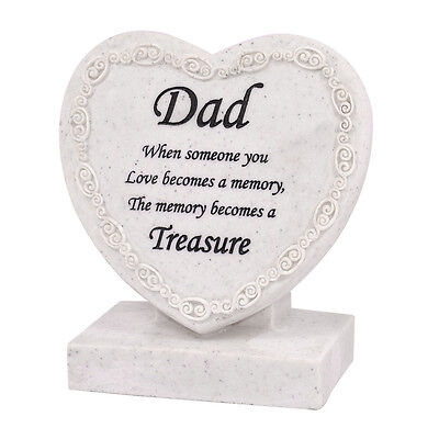 Dad Heart Shaped Memorial Grave Plaque Cremation Marker