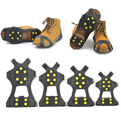 10-Stud Ice Snow Shoe Boot Spikes Grips Crampons Cleats Anti Slip Hiking S-XL