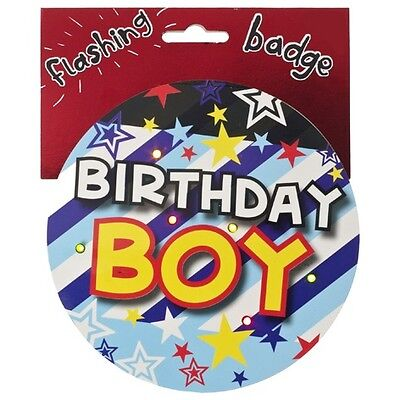 Birthday Boy Jumbo Flashing Party Badge Light Up Big Badges Birthdays