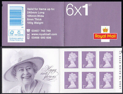 GB 2015 Long to Reign Over Us 1st class bright lilac stamp booklet O15R SG MB14