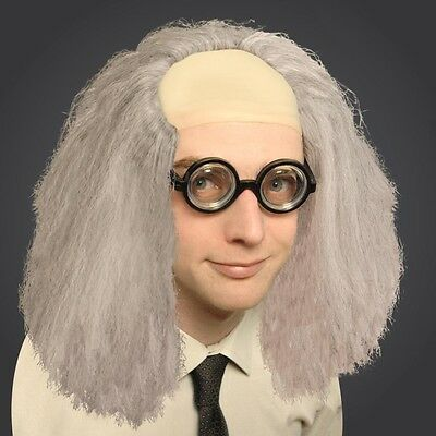 Crazy Professor Wig Mad Scientist Doc Brown Einstein Adult Fancy Dress Halloween