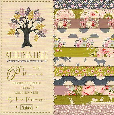 AUTUMN TREE MINI PAPER PAD by TILDA, 24 DOUBLE SIDED SHEETS FOR CARD MAKING, NEW