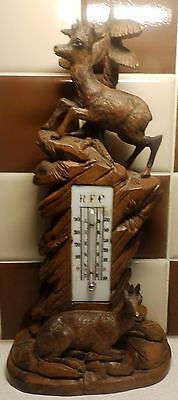 Rare 19th C Black Forrest Carved Mercury Thermostat Depicting Two Mountain Goats