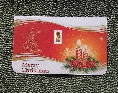 Merry Christmas 1/15th Gram 24K PURE 999+ FINE GOLD BULLION MINTED CERTIFIED BAR