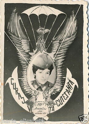 Romania Paratrooper Girl Photo Military Service Souvenir Picture Badge Eagle