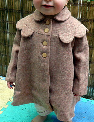 VINTAGE 1950's GIRL CHILD'S TODDLER Pink WOOL COAT 2-3 YEARS or Life Size Doll