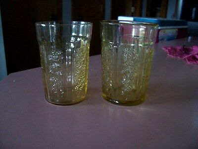 "Sharon Cabbage Rose amber 4 1/4"" flat tumblers (2)"