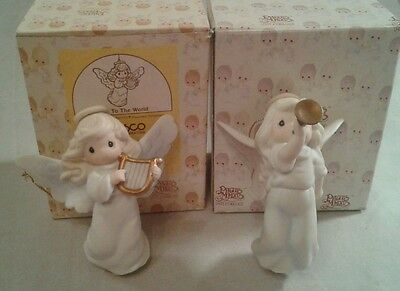 Lot of 2 Precious Moments Joy to the World  Christmas Angel 1995 Horn 1997 Harp