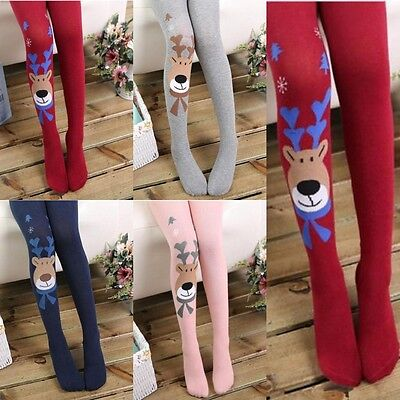 NEW Kids Girl Cotton Christmas Elk Tights Socks Stocking Pants Hosiery Pantyhose