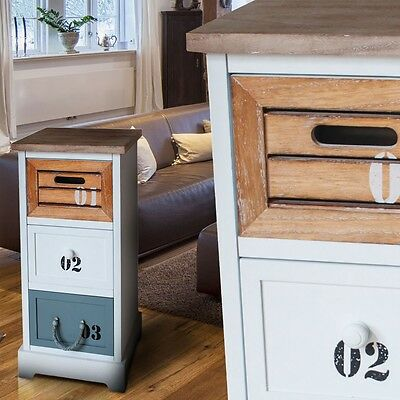 RETRO Regal White Bathroom Cabinet Chest of drawers 3 Drawers Bedroom Furniture