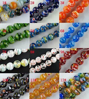 75pcs  Millefiori Glass Round Loose Beads Spacers 12colors-1 8mm