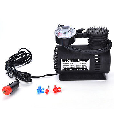 12V Portable Mini Air Compressor 300 PSI Bike Car Tyre Inflator Pump CigaretteCA