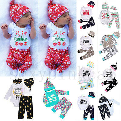 Christmas Clothes Infant Baby Boy Girl Tops Romper Pants Hat Outfits Set Hot