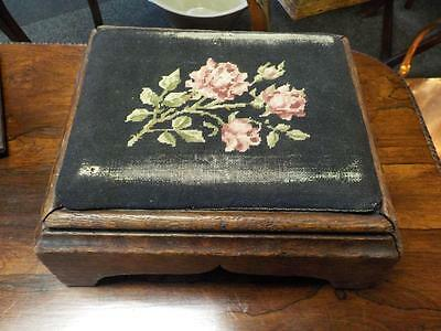Antique Victorian Oak Footstool With Fine Floral Tapestry Top