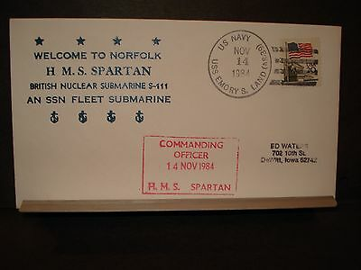 USS EMORY S. LAND AS-39 Naval Cover 1984 British HMS SPARTAN S-111 Cachet