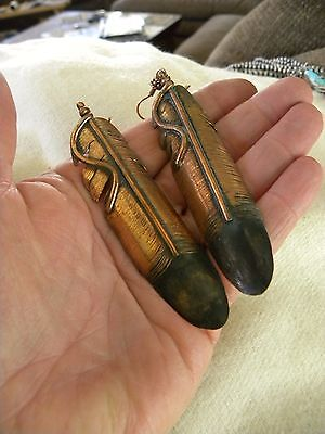 """Huge Copper Feather Earrings By C. Chama 3-3/8"""" Long Signed"""