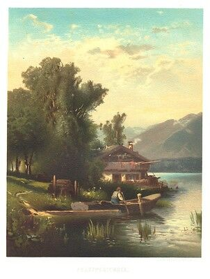 Frauenchiemsee,  Chiemsee, Original-Lithographie Hugo Veit von 1874