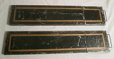 2 Antique Safety Deposit Boxes --  Black Steel with Clasps + Red & Gold Striping