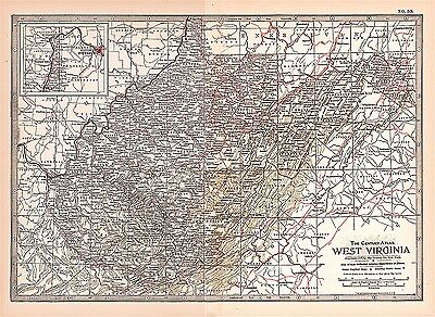 Antique 1897 Century Atlas Map - No. 35 - West Virginia
