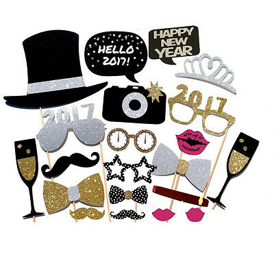 21PCS 2017 New Year's Eve Party Card Masks Photo Booth Props Mustache On A Stick