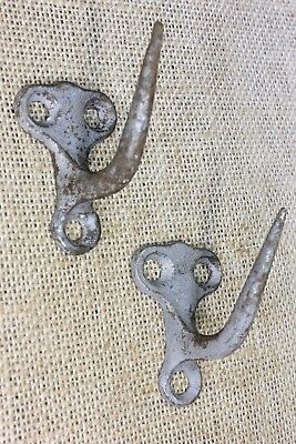 2 Old smoke house meat Hooks galvanized Cast Iron hearth barn hanger vintage