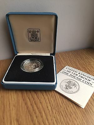 1985 £1 SILVER PROOF Coin - Original Royal Mint One Pound Case & COA