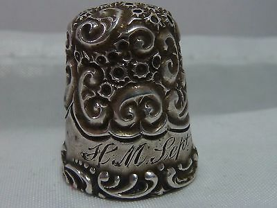 Antique Sterling Silver Scroll Band Thimble   * Circa 1900