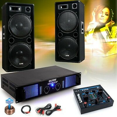 3000W Pro PA Party Disco Sound system Speakers Amplifier Mixer USB MP3