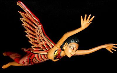 Winged Dewi Sri Goddess Mobile Crib Guardian Carved Wood Balinese art red 16""