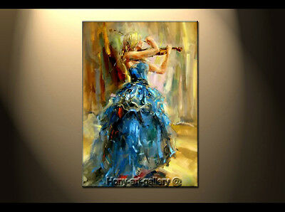 Modern Oil Painting People The Girl Playing The Violin Hand-Painted Canvas DF114